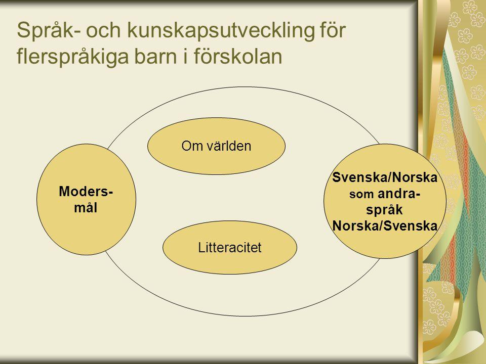 Språk- och kunskapsutveckling för flerspråkiga barn i förskolan Om världen Litteracitet Svenska/Norska som andra- språk Norska/Svenska Moders- mål