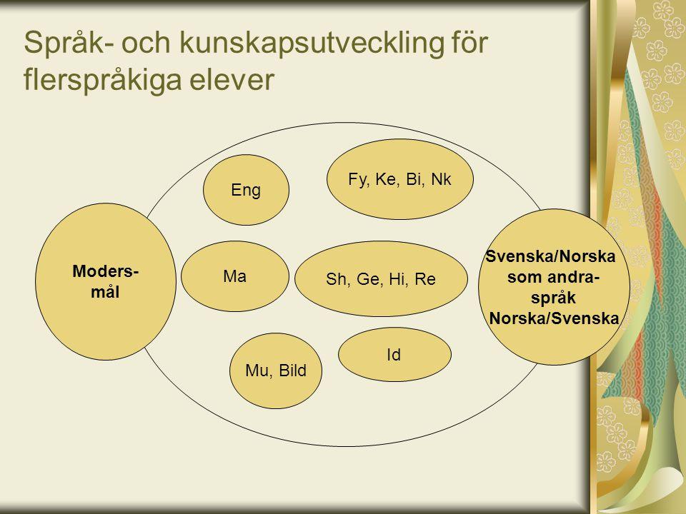 Språk- och kunskapsutveckling för flerspråkiga elever Fy, Ke, Bi, Nk Eng Ma Mu, Bild Sh, Ge, Hi, Re Id Svenska/Norska som andra- språk Norska/Svenska