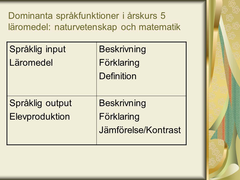 Dominanta språkfunktioner i årskurs 5 läromedel: naturvetenskap och matematik Språklig input Läromedel Beskrivning Förklaring Definition Språklig outp