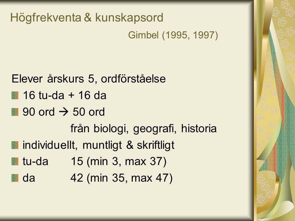 Högfrekventa & kunskapsord Gimbel (1995, 1997) Elever årskurs 5, ordförståelse 16 tu-da + 16 da 90 ord  50 ord från biologi, geografi, historia indiv