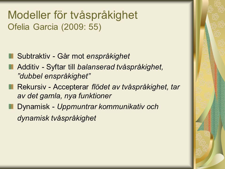 """Modeller för tvåspråkighet Ofelia Garcia (2009: 55) Subtraktiv - Går mot enspråkighet Additiv - Syftar till balanserad tvåspråkighet, """"dubbel enspråki"""