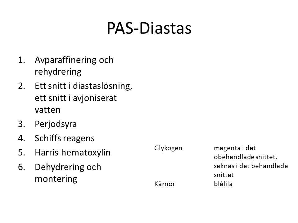 PAS-Diastas 1.Avparaffinering och rehydrering 2.Ett snitt i diastaslösning, ett snitt i avjoniserat vatten 3.Perjodsyra 4.Schiffs reagens 5.Harris hem