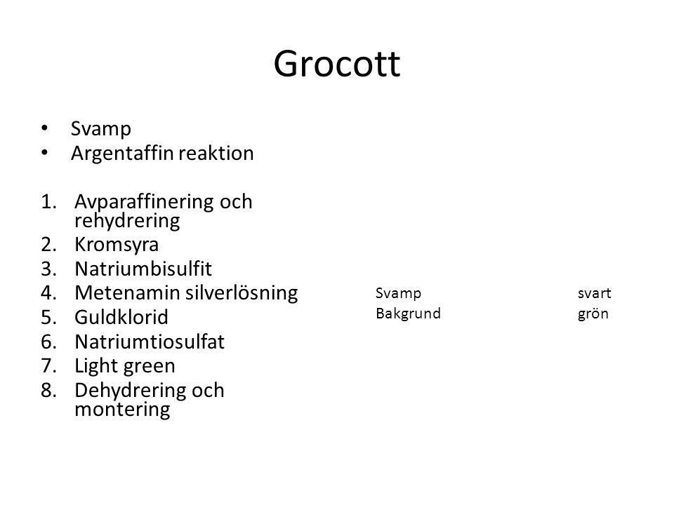 Grocott Svamp Argentaffin reaktion 1.Avparaffinering och rehydrering 2.Kromsyra 3.Natriumbisulfit 4.Metenamin silverlösning 5.Guldklorid 6.Natriumtios