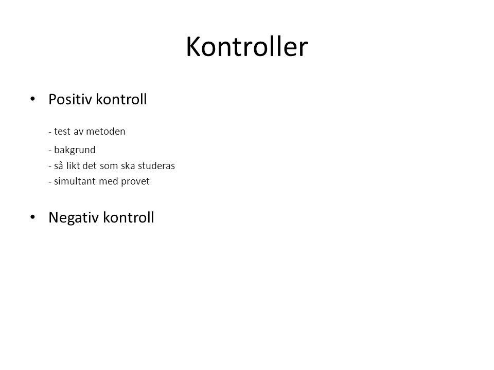 Kontroller Positiv kontroll - test av metoden - bakgrund - så likt det som ska studeras - simultant med provet Negativ kontroll
