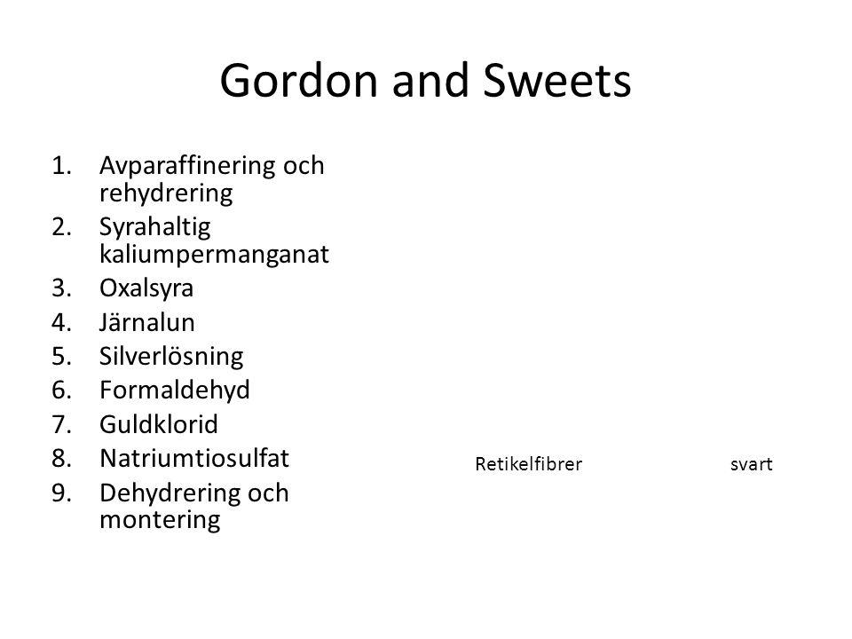 Gordon and Sweets 1.Avparaffinering och rehydrering 2.Syrahaltig kaliumpermanganat 3.Oxalsyra 4.Järnalun 5.Silverlösning 6.Formaldehyd 7.Guldklorid 8.
