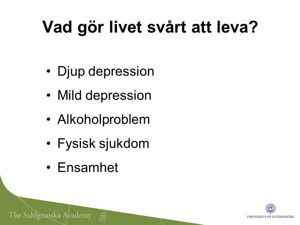 Vad gör livet svårt att leva? Djup depression Mild depression Alkoholproblem Fysisk sjukdom Ensamhet