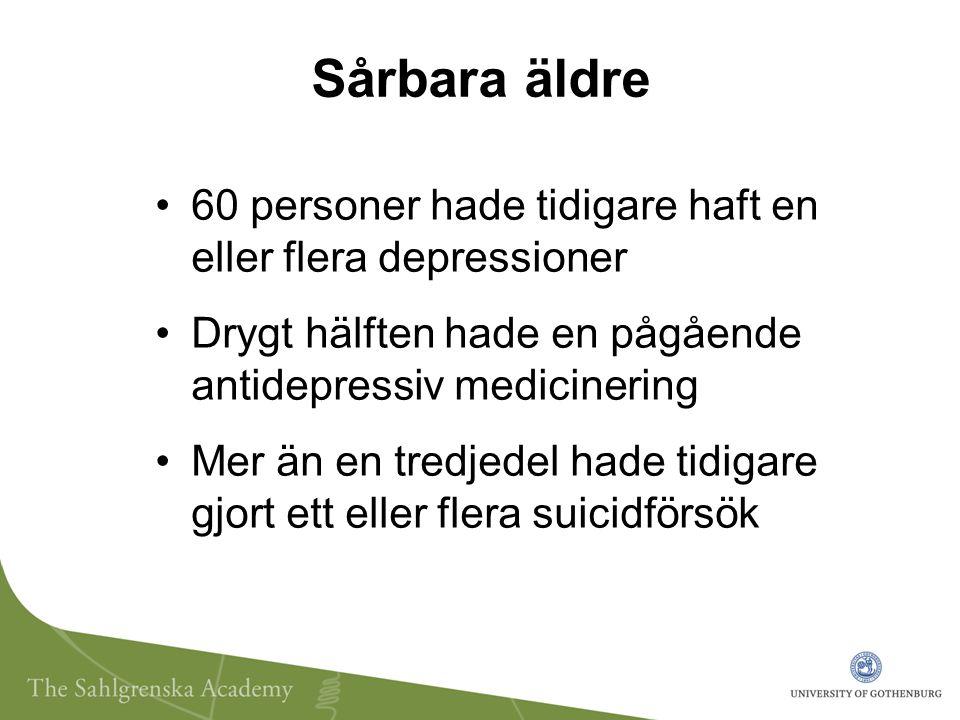Sårbara äldre 60 personer hade tidigare haft en eller flera depressioner Drygt hälften hade en pågående antidepressiv medicinering Mer än en tredjedel hade tidigare gjort ett eller flera suicidförsök