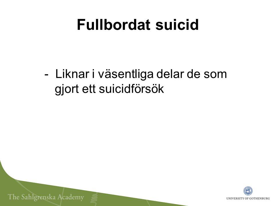 Fullbordat suicid - Liknar i väsentliga delar de som gjort ett suicidförsök