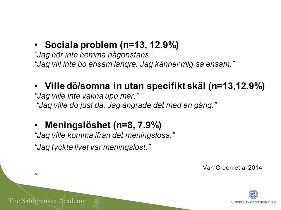 Sociala problem (n=13, 12.9%) Jag hör inte hemma någonstans. Jag vill inte bo ensam längre.