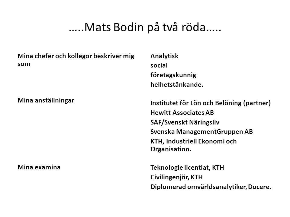 …..Mats Bodin på två röda….. Mina chefer och kollegor beskriver mig som Mina anställningar Mina examina Analytisk social företagskunnig helhetstänkand