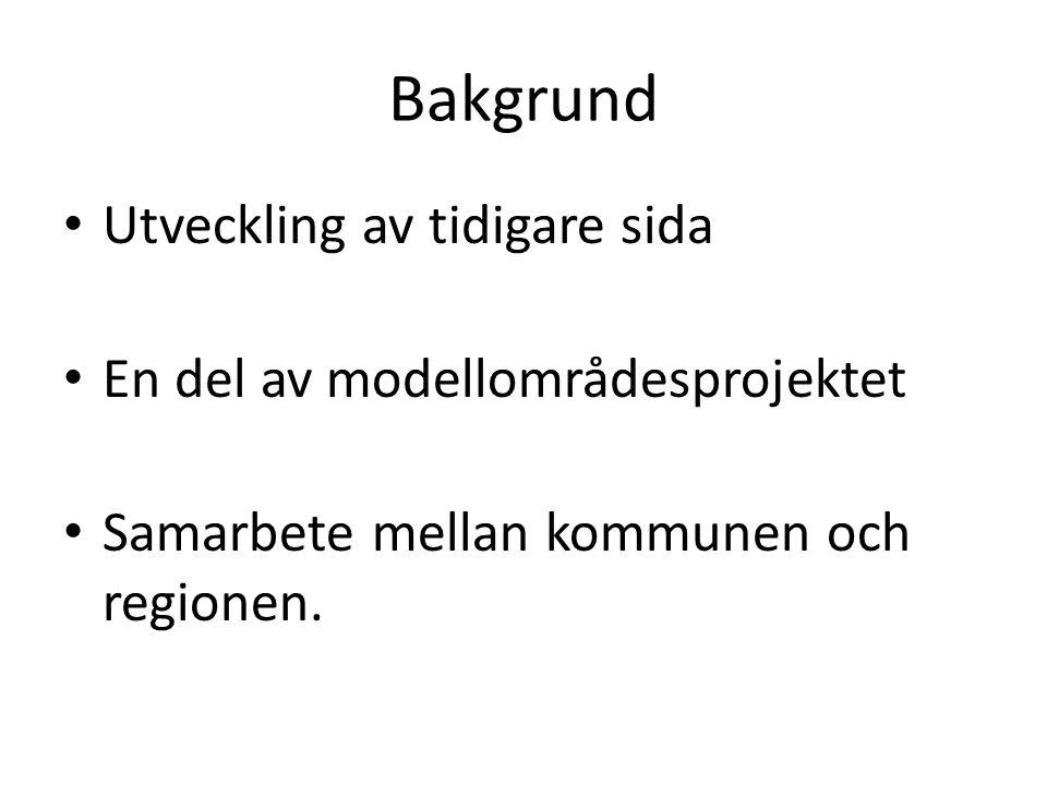Bakgrund Utveckling av tidigare sida En del av modellområdesprojektet Samarbete mellan kommunen och regionen.
