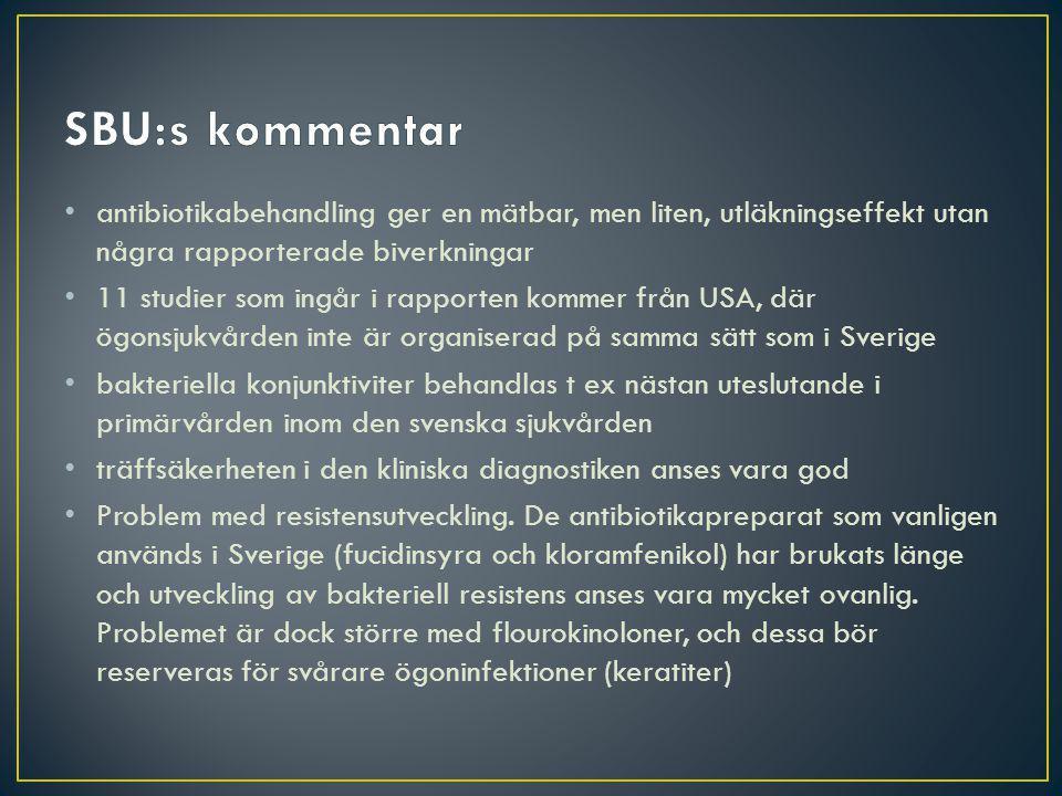 antibiotikabehandling ger en mätbar, men liten, utläkningseffekt utan några rapporterade biverkningar 11 studier som ingår i rapporten kommer från USA, där ögonsjukvården inte är organiserad på samma sätt som i Sverige bakteriella konjunktiviter behandlas t ex nästan uteslutande i primärvården inom den svenska sjukvården träffsäkerheten i den kliniska diagnostiken anses vara god Problem med resistensutveckling.