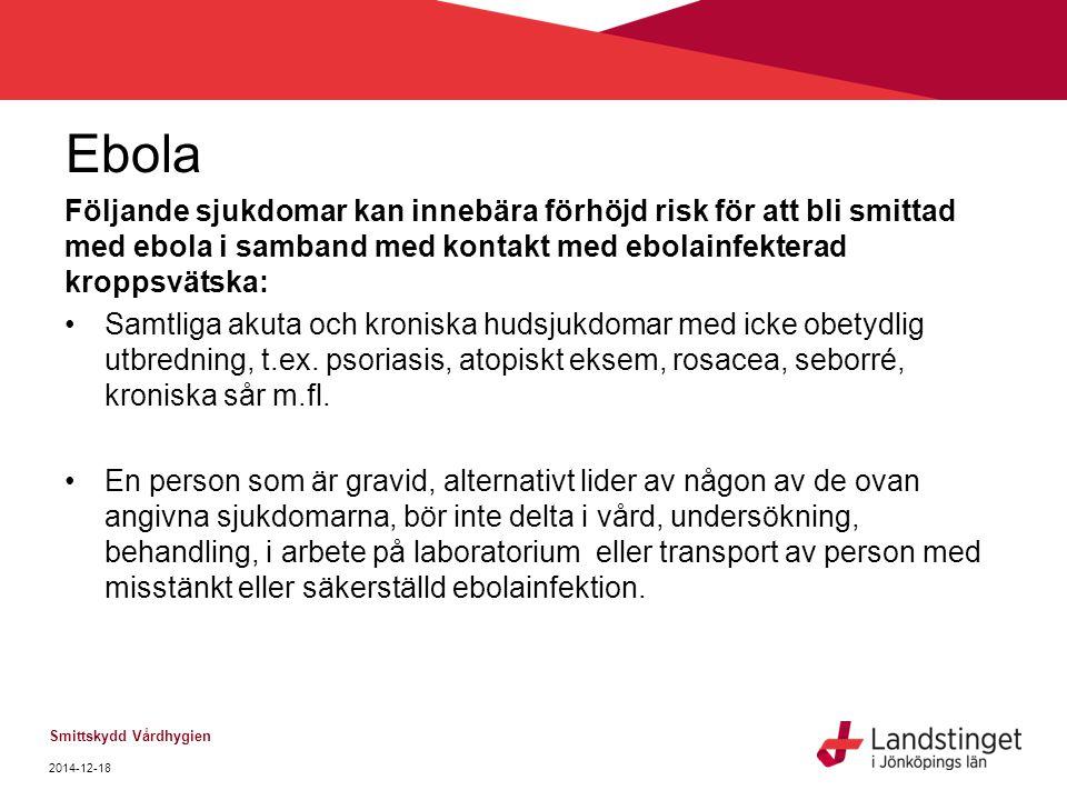 Ebola Följande sjukdomar kan innebära förhöjd risk för att bli smittad med ebola i samband med kontakt med ebolainfekterad kroppsvätska: Samtliga akut