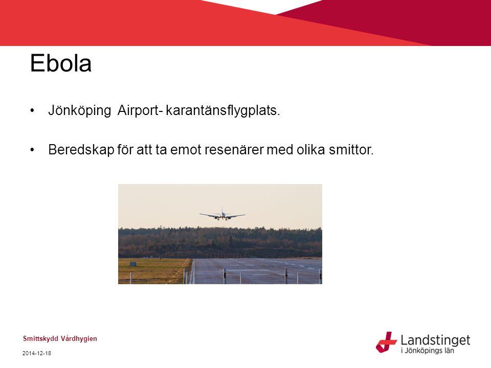 Ebola Jönköping Airport- karantänsflygplats. Beredskap för att ta emot resenärer med olika smittor. Smittskydd Vårdhygien 2014-12-18
