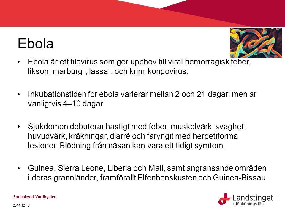 Ebola Ebola är ett filovirus som ger upphov till viral hemorragisk feber, liksom marburg-, lassa-, och krim-kongovirus. Inkubationstiden för ebola var