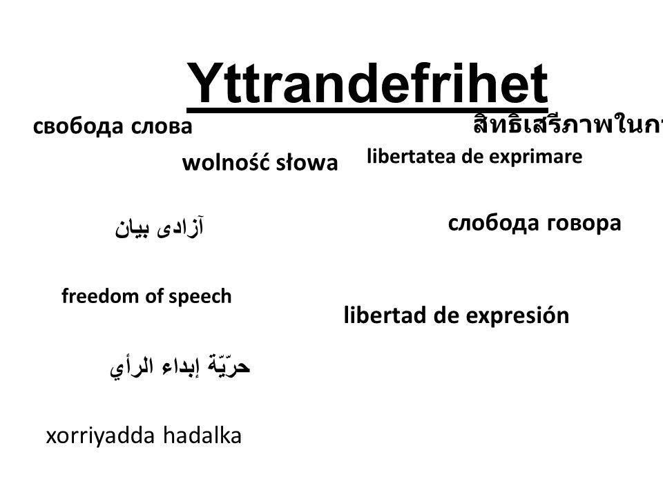 Yttrandefrihet Alla människor har rätt att tycka vad man vill och säga vad man vill.