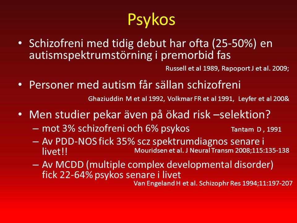 Psykos Schizofreni med tidig debut har ofta (25-50%) en autismspektrumstörning i premorbid fas Personer med autism får sällan schizofreni Men studier pekar även på ökad risk –selektion.