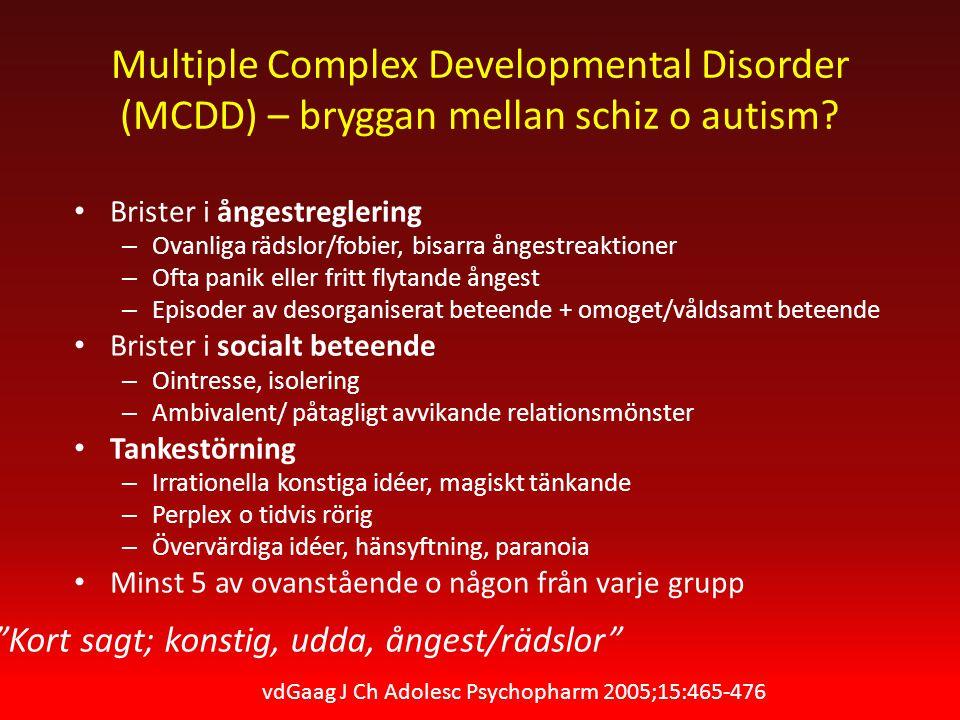 Multiple Complex Developmental Disorder (MCDD) – bryggan mellan schiz o autism.
