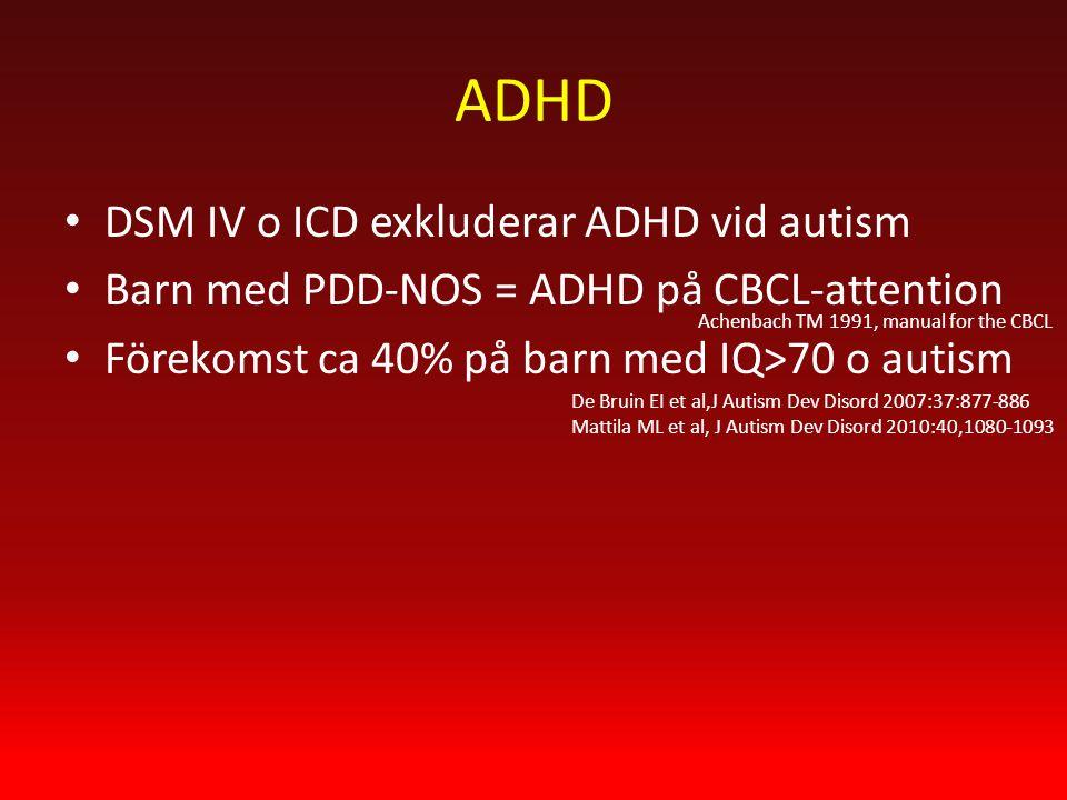 ADHD DSM IV o ICD exkluderar ADHD vid autism Barn med PDD-NOS = ADHD på CBCL-attention Förekomst ca 40% på barn med IQ>70 o autism Achenbach TM 1991, manual for the CBCL De Bruin EI et al,J Autism Dev Disord 2007:37:877-886 Mattila ML et al, J Autism Dev Disord 2010:40,1080-1093