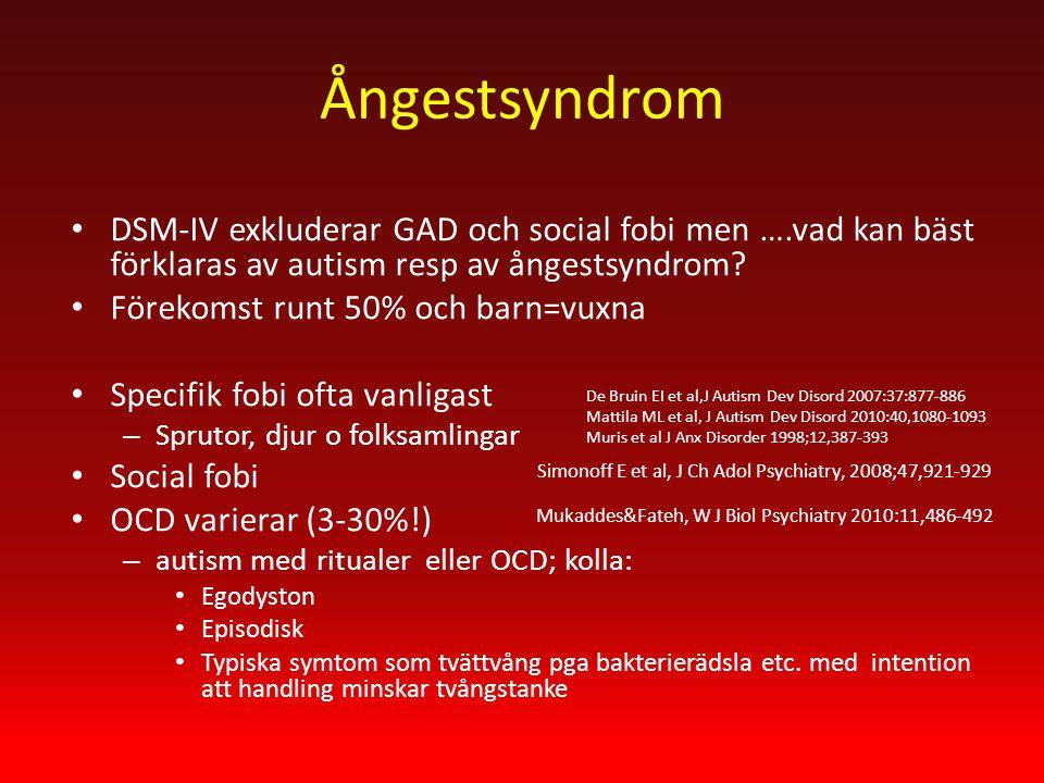 Ångestsyndrom DSM-IV exkluderar GAD och social fobi men ….vad kan bäst förklaras av autism resp av ångestsyndrom.