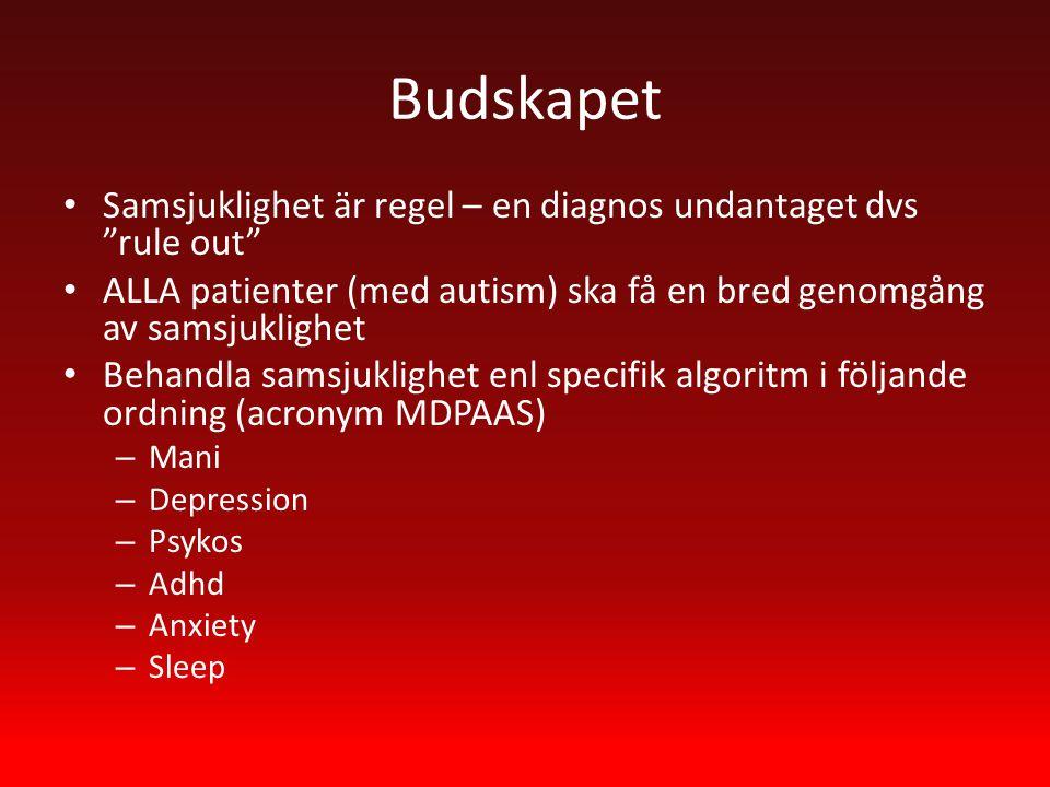 Budskapet Samsjuklighet är regel – en diagnos undantaget dvs rule out ALLA patienter (med autism) ska få en bred genomgång av samsjuklighet Behandla samsjuklighet enl specifik algoritm i följande ordning (acronym MDPAAS) – Mani – Depression – Psykos – Adhd – Anxiety – Sleep