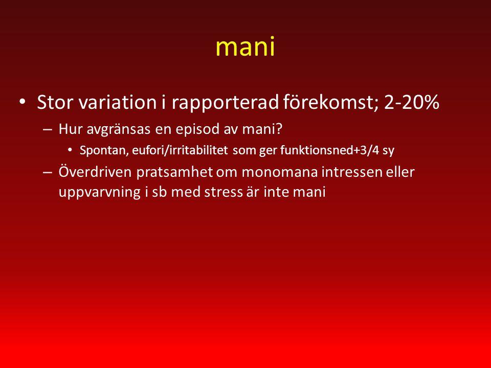 mani Stor variation i rapporterad förekomst; 2-20% – Hur avgränsas en episod av mani.