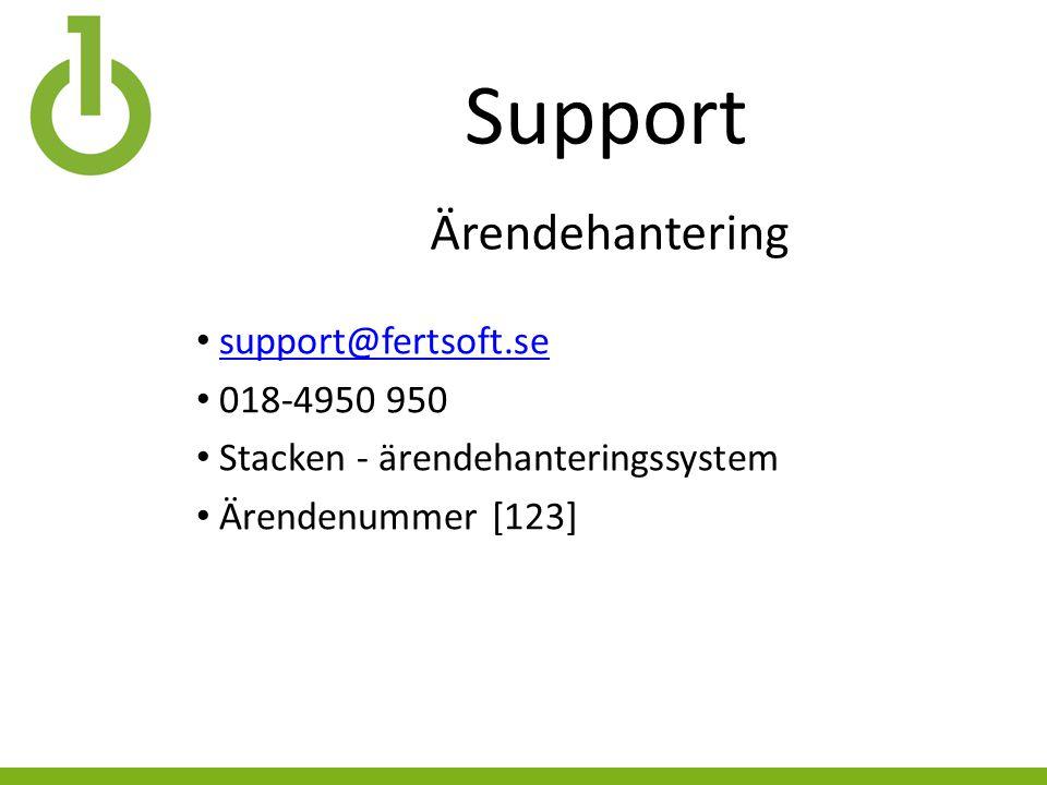 Support support@fertsoft.se 018-4950 950 Stacken - ärendehanteringssystem Ärendenummer [123] Ärendehantering