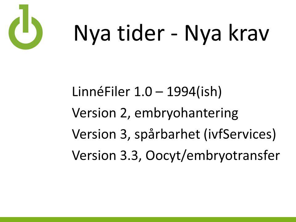 Nya tider - Nya krav LinnéFiler 1.0 – 1994(ish) Version 2, embryohantering Version 3, spårbarhet (ivfServices) Version 3.3, Oocyt/embryotransfer