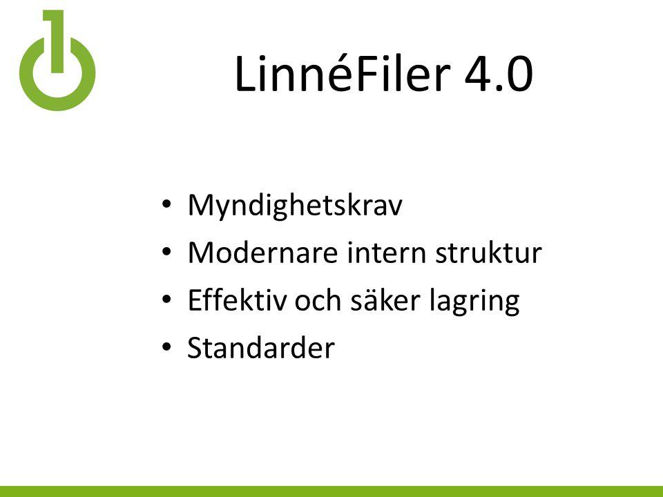 LinnéFiler 4.0 Myndighetskrav Modernare intern struktur Effektiv och säker lagring Standarder