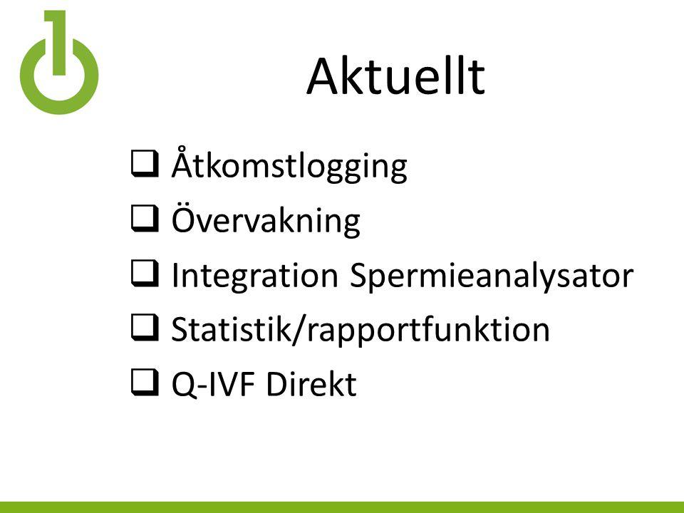 Aktuellt  Åtkomstlogging  Övervakning  Integration Spermieanalysator  Statistik/rapportfunktion  Q-IVF Direkt