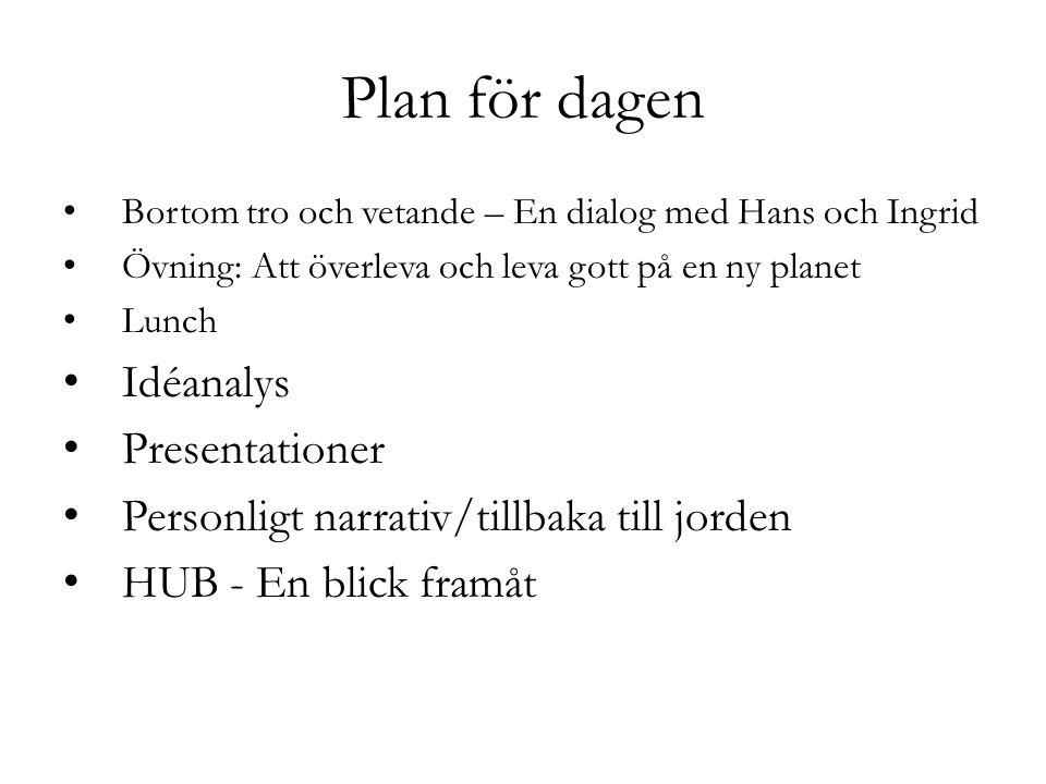 Plan för dagen Bortom tro och vetande – En dialog med Hans och Ingrid Övning: Att överleva och leva gott på en ny planet Lunch Idéanalys Presentatione