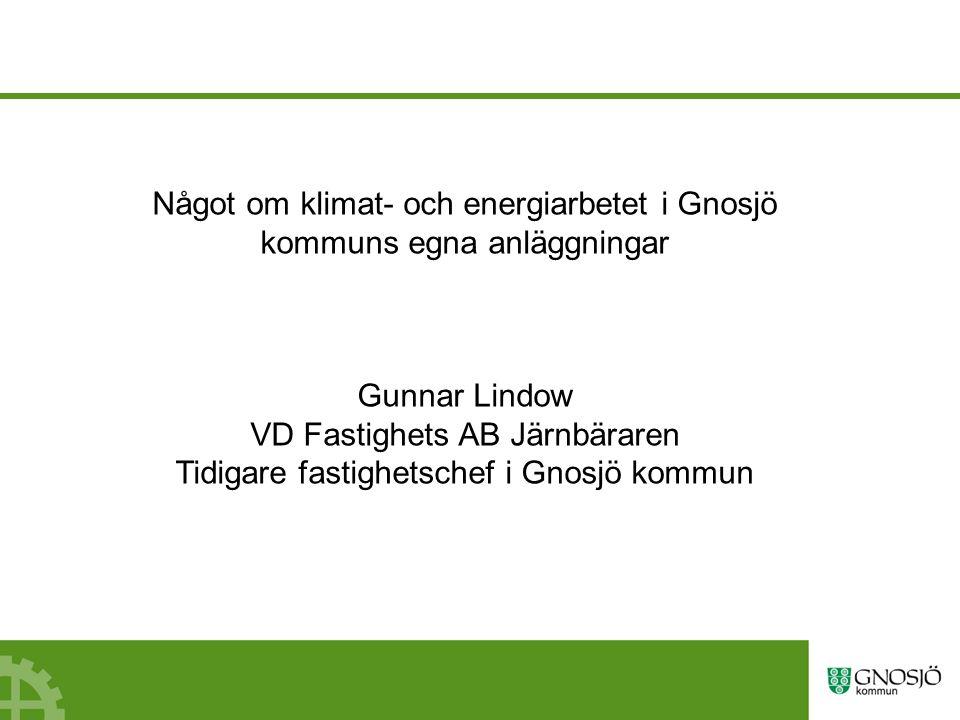 Något om klimat- och energiarbetet i Gnosjö kommuns egna anläggningar Gunnar Lindow VD Fastighets AB Järnbäraren Tidigare fastighetschef i Gnosjö kommun