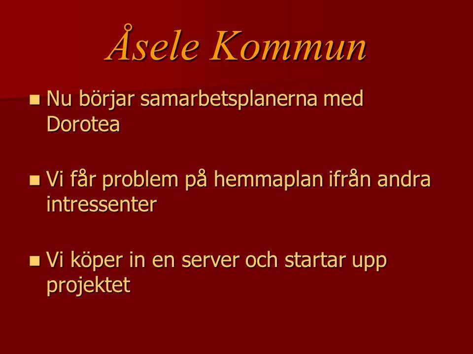 Åsele Kommun Vi väljer att fortsätta i Linuxmiljö Vi väljer att fortsätta i Linuxmiljö Örjan och jag drar upp riktlinjer för tidplan, genomförandet och struktur och vilka normer och regler som finns Örjan och jag drar upp riktlinjer för tidplan, genomförandet och struktur och vilka normer och regler som finns Samtidigt så startar vi upp på hemma- plan i Åsele med hemside gruppen Samtidigt så startar vi upp på hemma- plan i Åsele med hemside gruppen