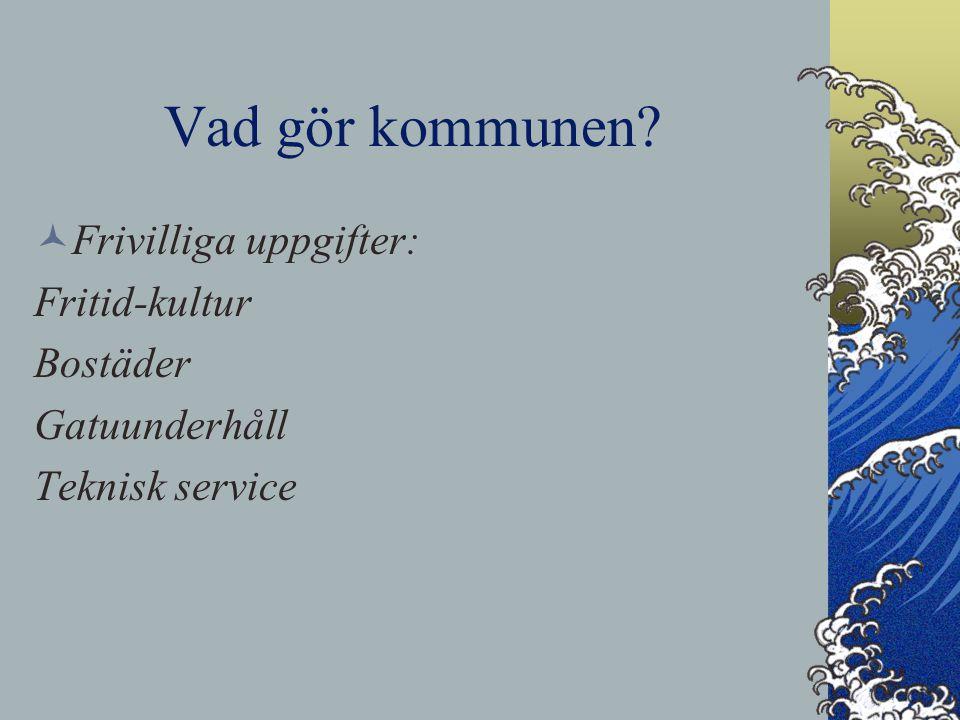 Vad gör kommunen? Frivilliga uppgifter: Fritid-kultur Bostäder Gatuunderhåll Teknisk service