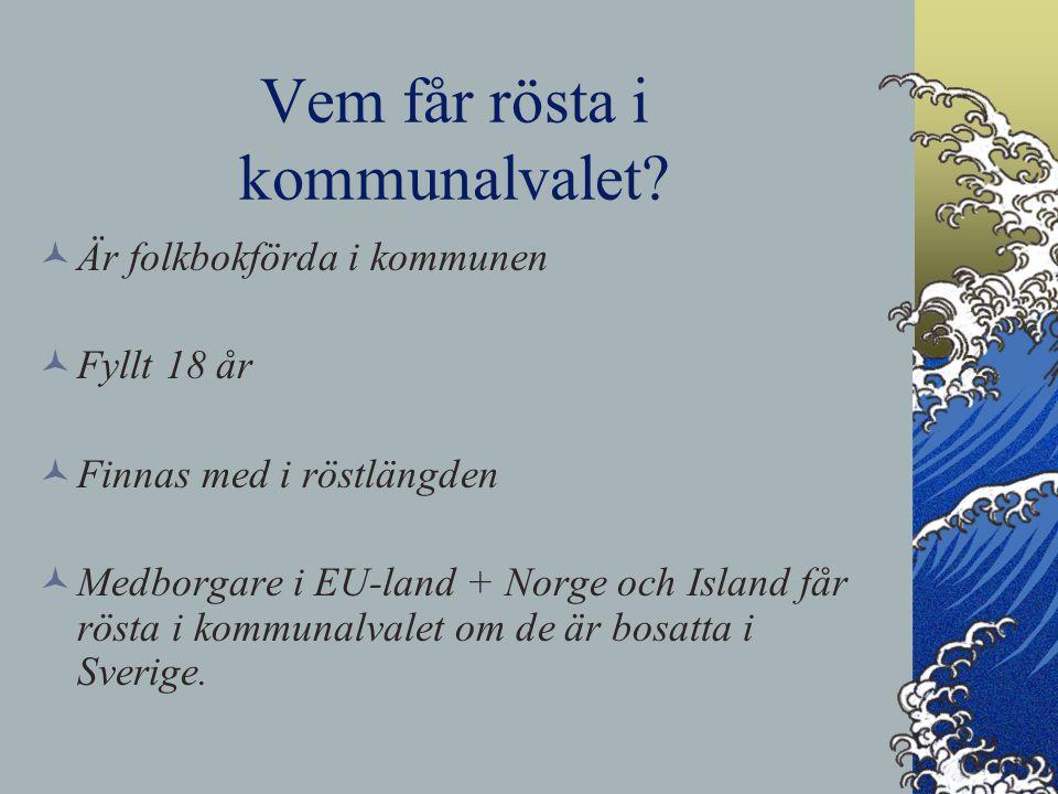 Vem får rösta i kommunalvalet? Är folkbokförda i kommunen Fyllt 18 år Finnas med i röstlängden Medborgare i EU-land + Norge och Island får rösta i kom