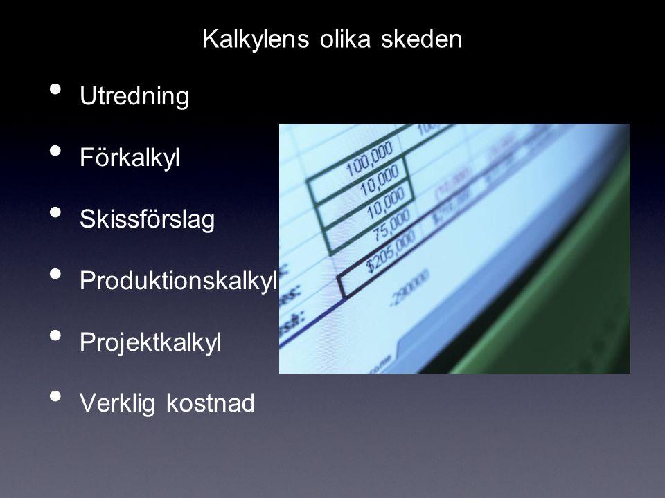 Utredning Förkalkyl Skissförslag Produktionskalkyl Projektkalkyl Verklig kostnad Kalkylens olika skeden
