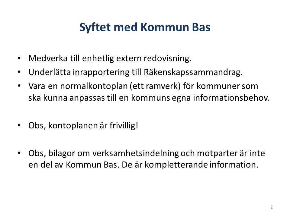 Syftet med Kommun Bas Medverka till enhetlig extern redovisning. Underlätta inrapportering till Räkenskapssammandrag. Vara en normalkontoplan (ett ram