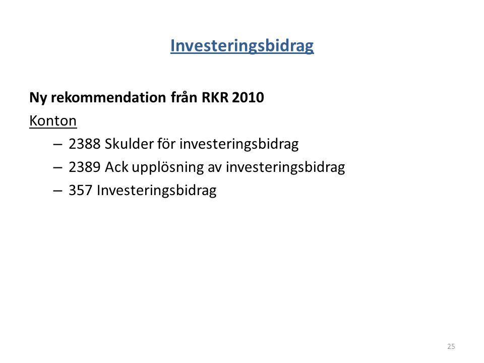 Investeringsbidrag Ny rekommendation från RKR 2010 Konton – 2388 Skulder för investeringsbidrag – 2389 Ack upplösning av investeringsbidrag – 357 Inve