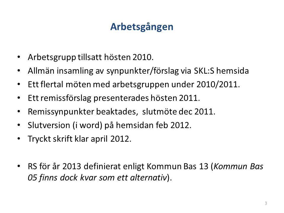 Arbetsgången Arbetsgrupp tillsatt hösten 2010. Allmän insamling av synpunkter/förslag via SKL:S hemsida Ett flertal möten med arbetsgruppen under 2010