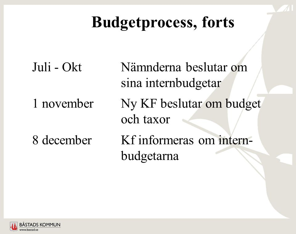 Budgetprocess, forts Juli - OktNämnderna beslutar om sina internbudgetar 1 novemberNy KF beslutar om budget och taxor 8 decemberKf informeras om intern- budgetarna