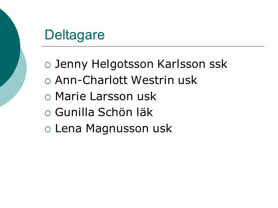 Deltagare  Jenny Helgotsson Karlsson ssk  Ann-Charlott Westrin usk  Marie Larsson usk  Gunilla Schön läk  Lena Magnusson usk