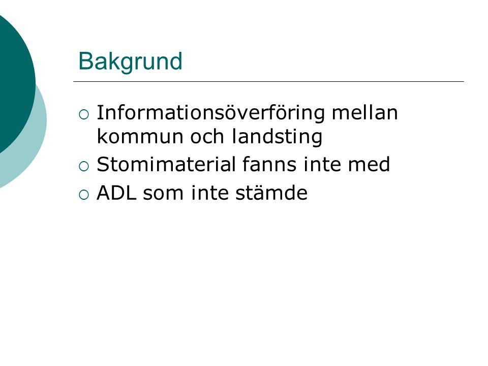 Bakgrund  Informationsöverföring mellan kommun och landsting  Stomimaterial fanns inte med  ADL som inte stämde