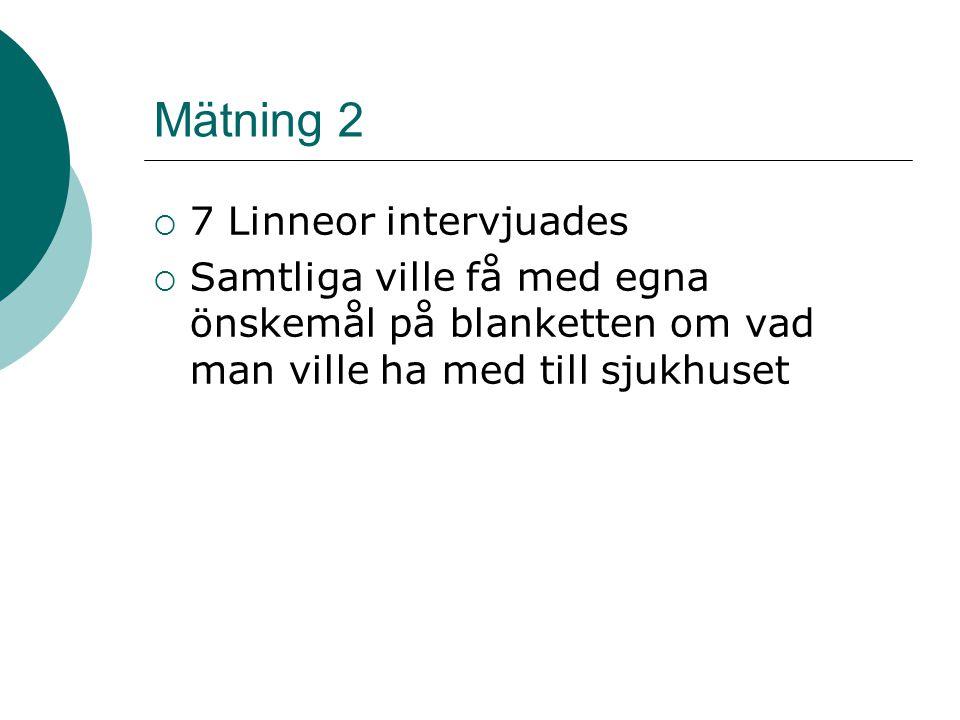 Mätning 2  7 Linneor intervjuades  Samtliga ville få med egna önskemål på blanketten om vad man ville ha med till sjukhuset