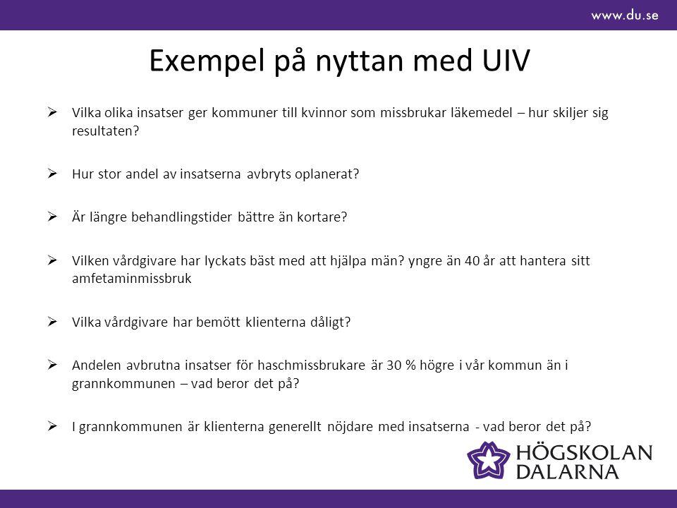 Exempel på nyttan med UIV  Vilka olika insatser ger kommuner till kvinnor som missbrukar läkemedel – hur skiljer sig resultaten?  Hur stor andel av