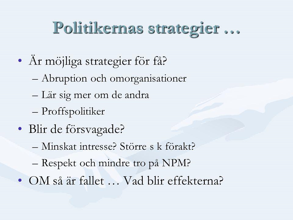 Politikernas strategier … Är möjliga strategier för få Är möjliga strategier för få.