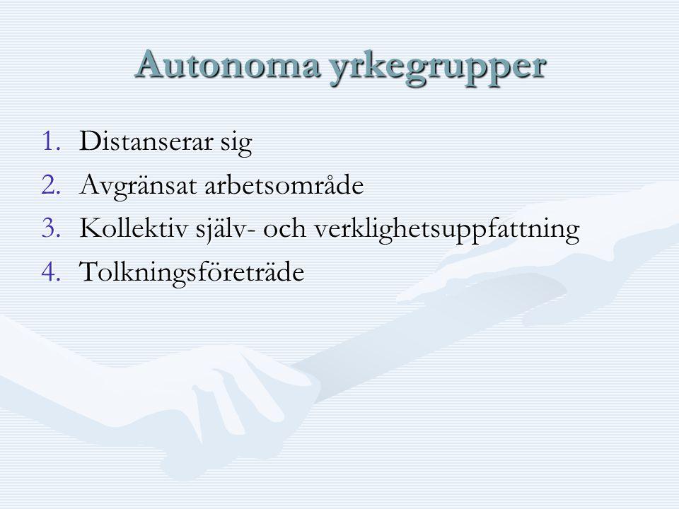 Autonoma yrkegrupper 1.Distanserar sig 2.Avgränsat arbetsområde 3.Kollektiv själv- och verklighetsuppfattning 4.Tolkningsföreträde