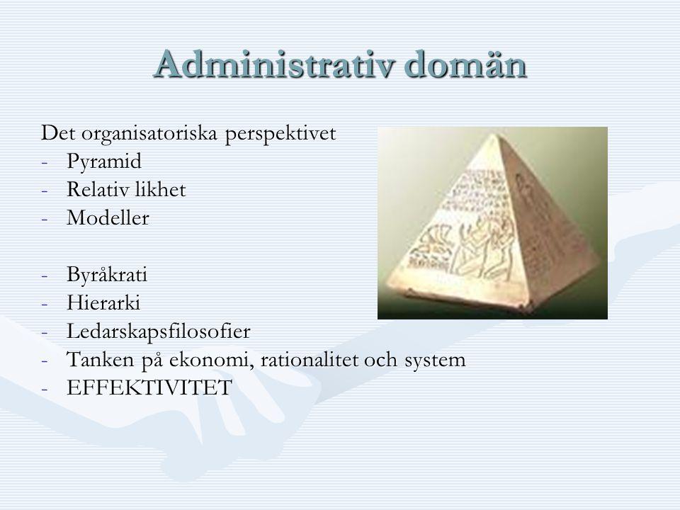 Administrativ domän Det organisatoriska perspektivet -Pyramid -Relativ likhet -Modeller -Byråkrati -Hierarki -Ledarskapsfilosofier -Tanken på ekonomi, rationalitet och system -EFFEKTIVITET