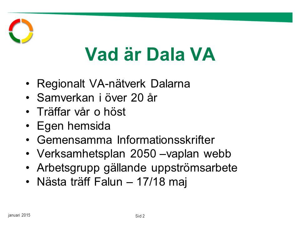 januari 2015 Sid 2 Vad är Dala VA Regionalt VA-nätverk Dalarna Samverkan i över 20 år Träffar vår o höst Egen hemsida Gemensamma Informationsskrifter Verksamhetsplan 2050 –vaplan webb Arbetsgrupp gällande uppströmsarbete Nästa träff Falun – 17/18 maj