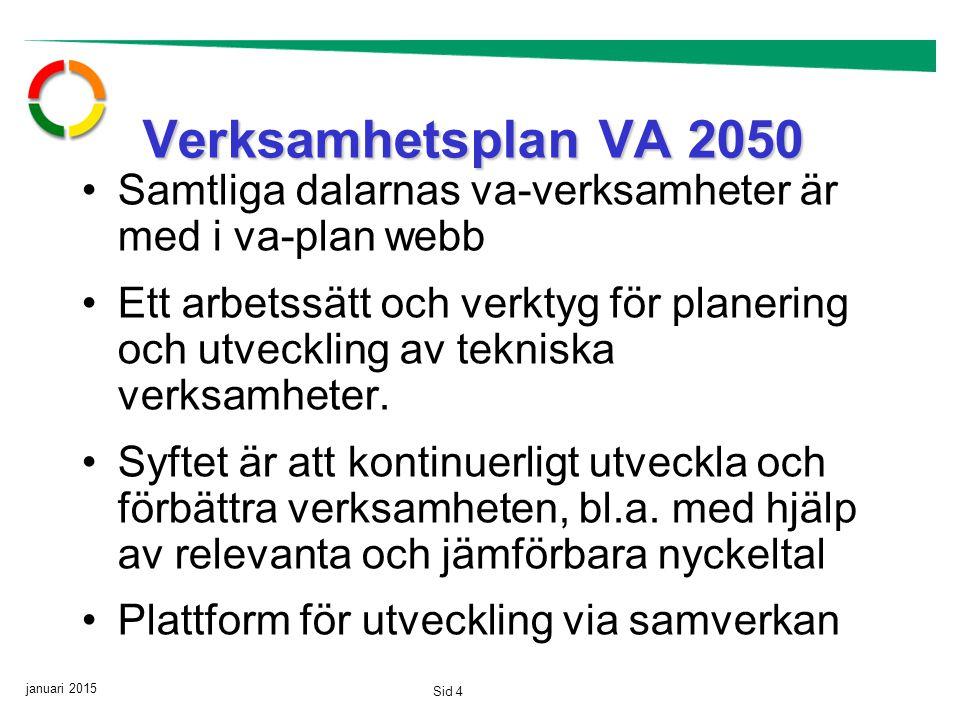 januari 2015 Sid 4 Verksamhetsplan VA 2050 Samtliga dalarnas va-verksamheter är med i va-plan webb Ett arbetssätt och verktyg för planering och utveckling av tekniska verksamheter.
