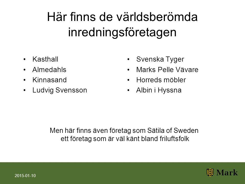 Här finns de världsberömda inredningsföretagen Kasthall Almedahls Kinnasand Ludvig Svensson Svenska Tyger Marks Pelle Vävare Horreds möbler Albin i Hy
